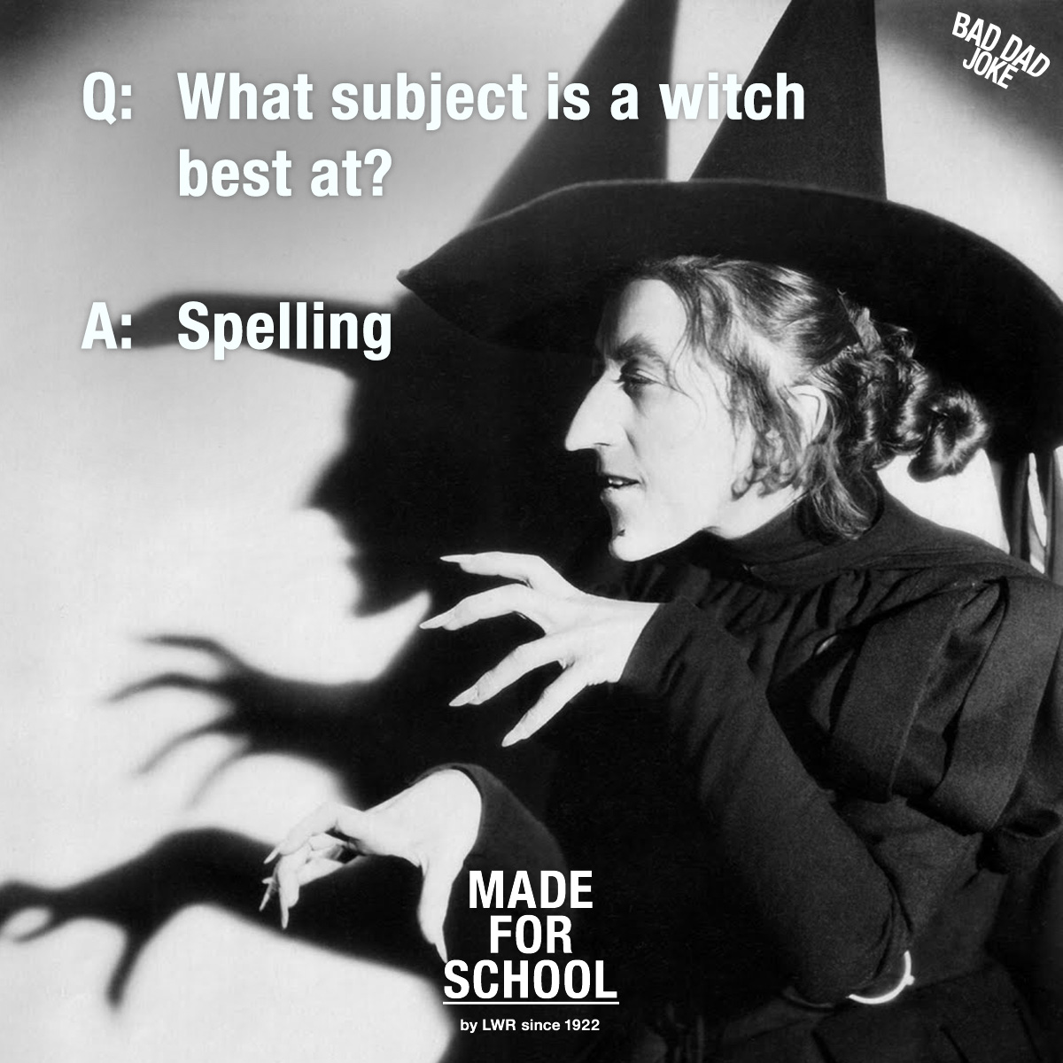 Bad Dad Joke: What subject is a Witch good at?
