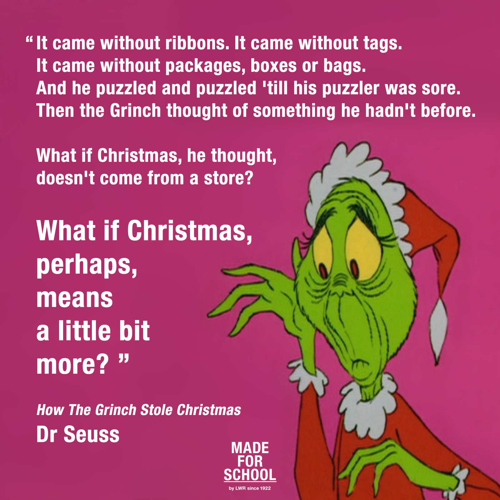 dr seuess what does christmas really mean to you